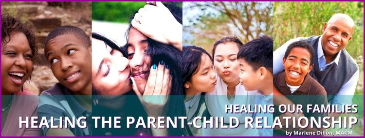 Image of diverse parents and children. Online course cover photo. Text states Healing Our Families Healing the Parent-Child Relationship by Marlene Dillon MACM. Tap to find out more about communication course for parents on Udemy.com